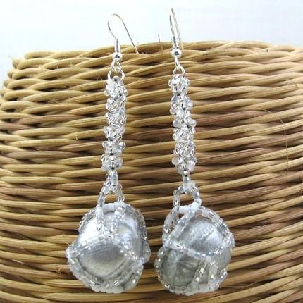 Earrings beaded hazelnuts Moonlight on Snow