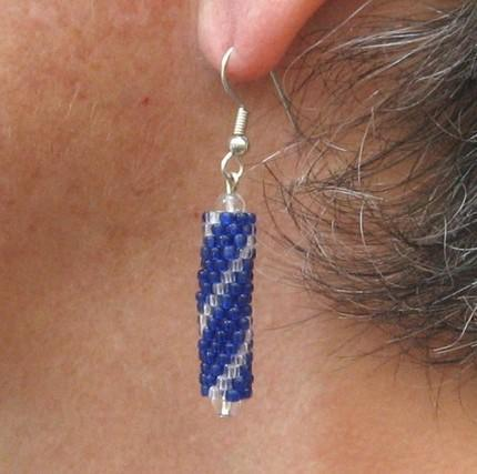 Blue and crystal beaded tube earrings