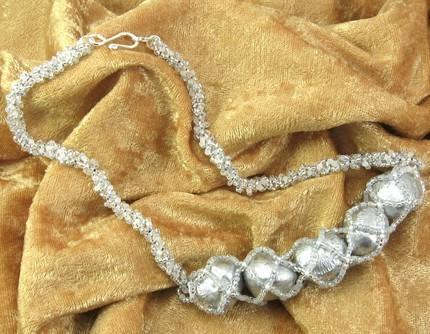 Necklace beadwoven with hazelnuts Moonlight on Snow