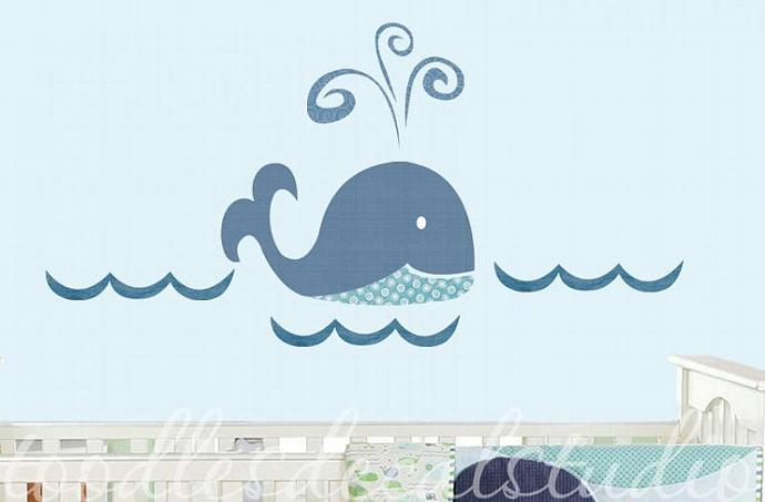 Whale ocean FABRIC kids wall decal sticker - not vinyl
