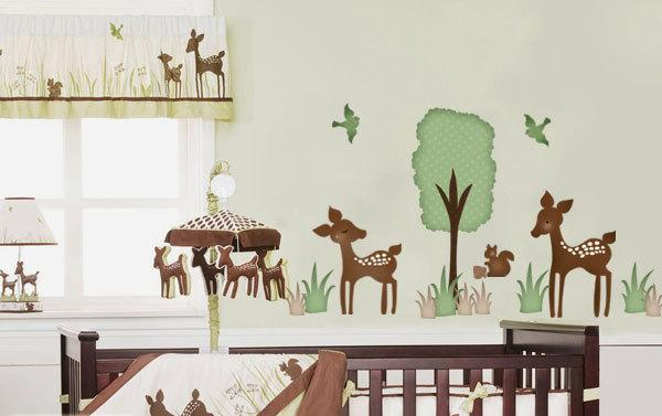 Willow Deer Forest Friends Fabric Wall Decal Sticker - not vinyl
