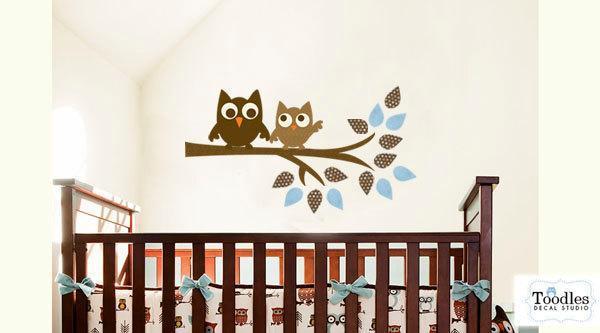 Owls on tree branch kids FABRIC wall decal sticker- not vinyl