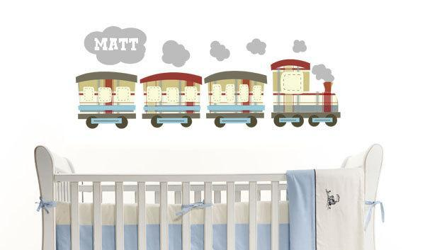 Choo Choo Train Personalized Fabric Kids Wall Decals Stickers - not vinyl