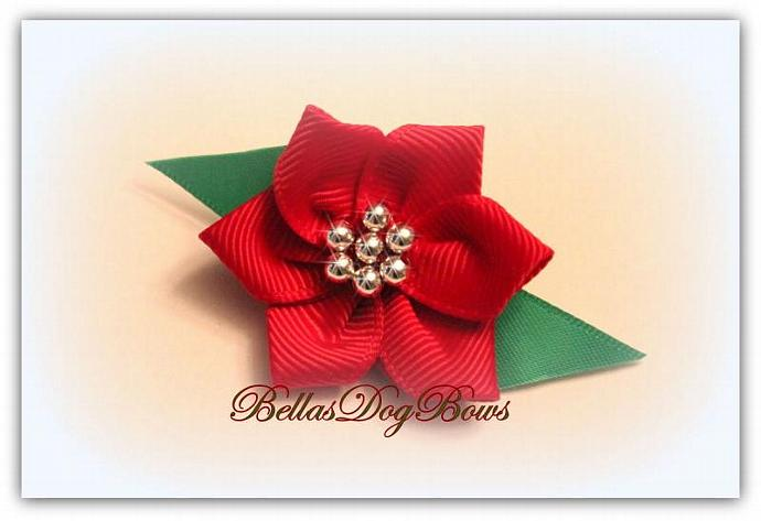 Poinsettia Bow for Christmas Holiday. Silver Beads Enhance this Flower