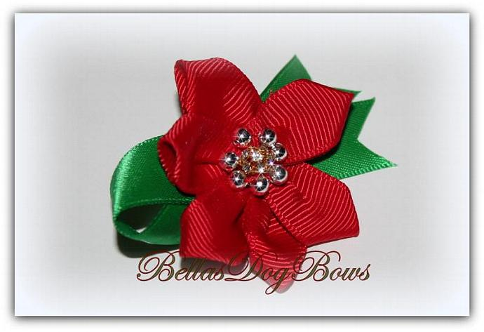 Poinsettia Collar Bow for Christmas Holiday. Silver Beads Enhance this Flower