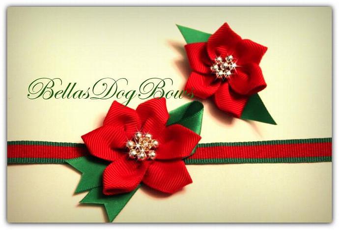 Set - Poinsettia Collar & Top-Knot Bow Set for Christmas.