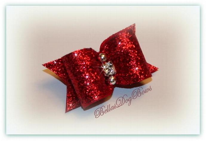 Christmas Dog Bow. Red Metallic Glitter Bow with Swarovski Crystal and Silver
