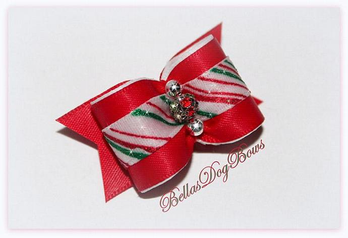 Candy Cane Christmas Glitter Bow with Red Satin Ribbon and Swarovski Crystal