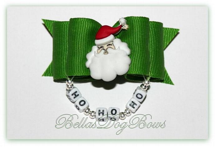 Christmas Santa Dog Bow with Ho-Ho-Ho Beads