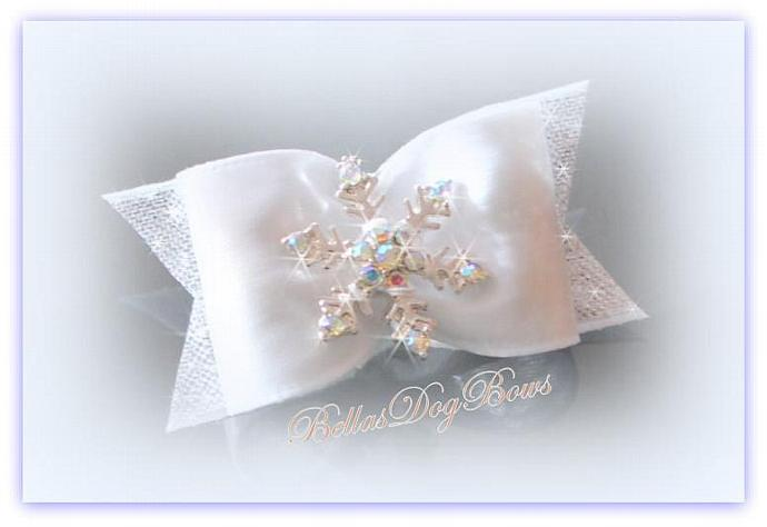 Winter White Satin & Silver Bow with Silver Plated Snowflakes embedded with