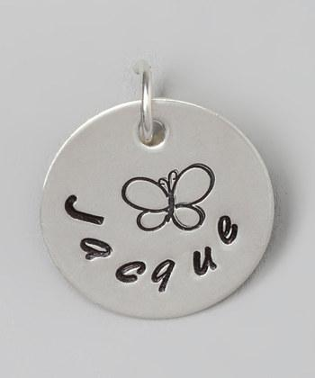 "Custom - 5/8"" Butterfly Personalized Sterling Silver Pendant"