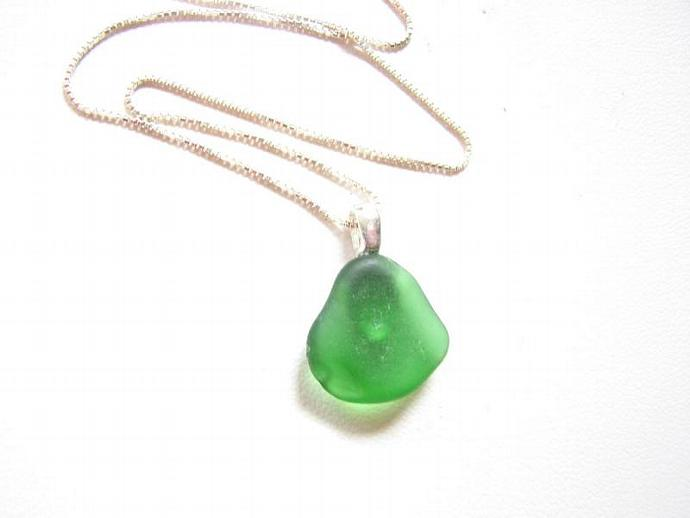 Forest green sea glass necklace simple by bitsoffthebeach on zibbet forest green sea glass necklace simple pendant on sterling silver chain sea mozeypictures Image collections