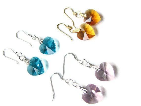 Custom Swarovski Crystal Heart Earrings Bridal Jewelry, Wedding Jewelry