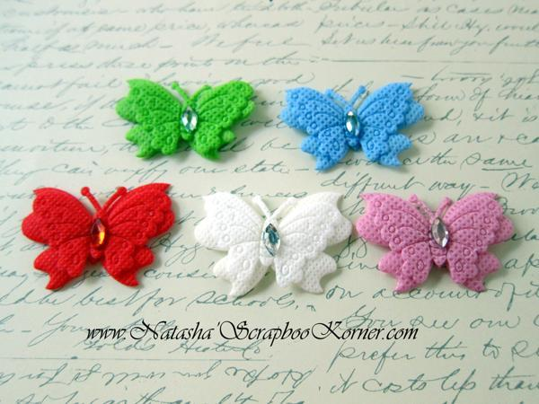 """3pcs Foam Layered Butterfly - 1.75"""" White, Blue, Pink, Red, Green stl"""