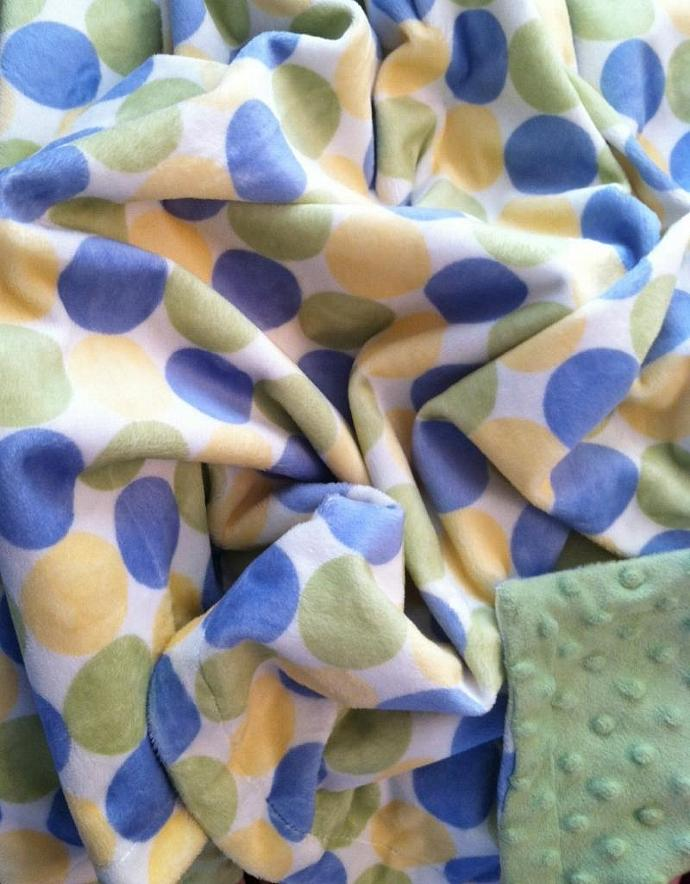 Green Minky  Baby Blanket  Retro Circles Sage Green Yellow Blue Chenille Sage