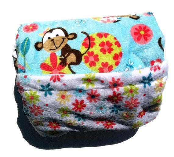Blue Minky Monkey Blanket White Daisy Plush Blanket GIrl Toddler Bedding 40 x 50