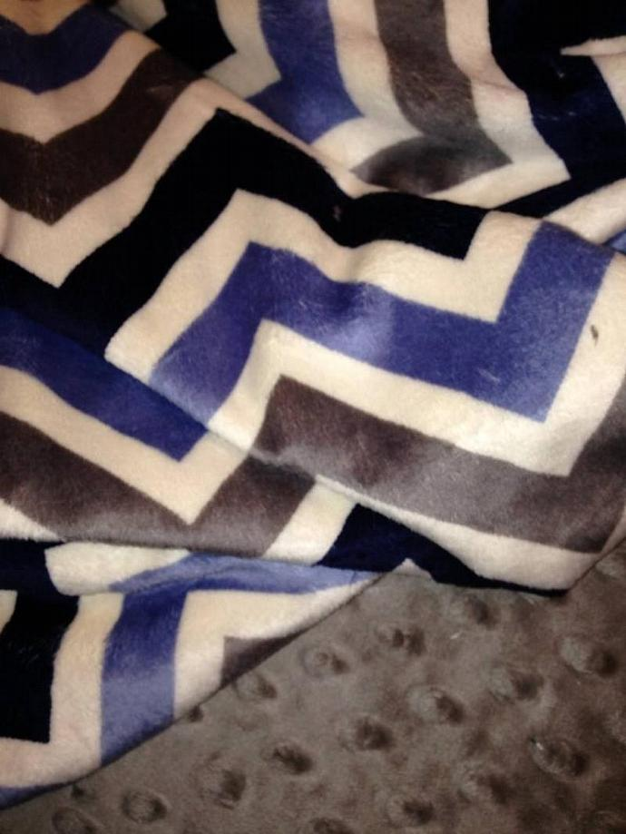 Minky Baby Blanket Chevron Blue Grey Navy Grey Minky Dot Back  Car Seat Stroller