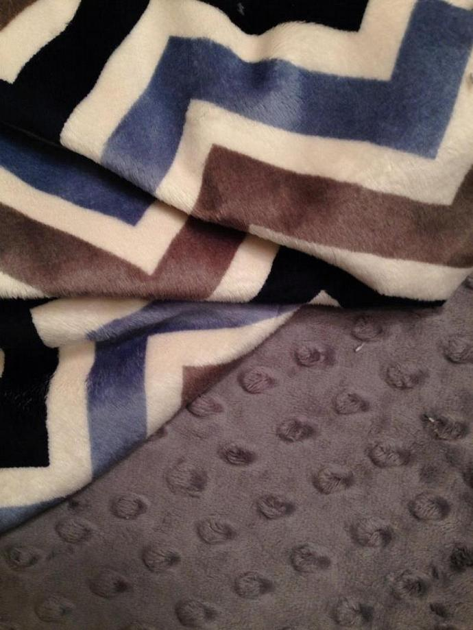 Chevron Minky Baby Blanket Blanket  Blue Grey Navy Grey Minky Dot Back  Crib
