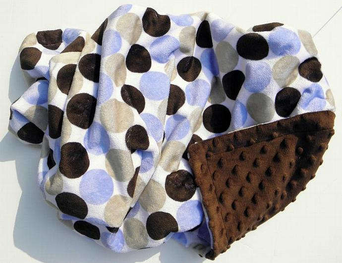 Adult Minky Blanket Blue Brown Tan Retro Circle Chenille Dot Back  Adult Size 50