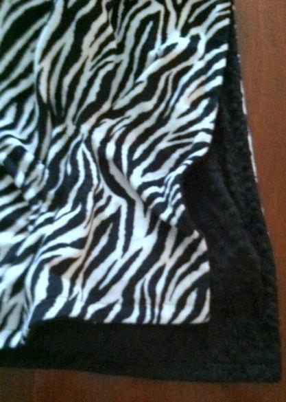 Zebra Minky Blanket  Black Animal Print  Plush Minky Dot Back Adult  50 x 60