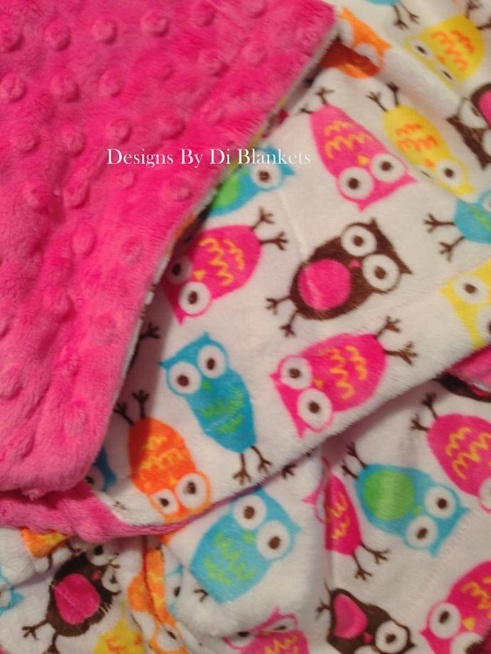 Pink Owl Minky Baby Blanket  Hot Pink  Minky Dot Back  Crib Size   36 x 45