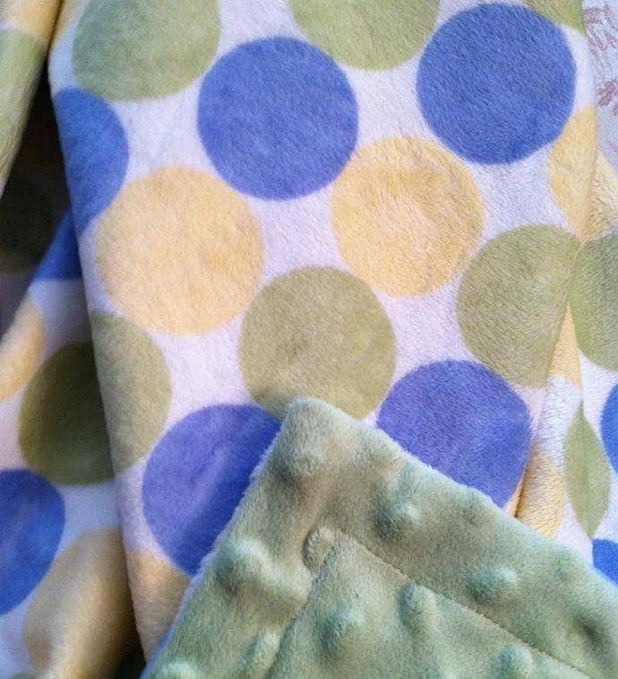 Green Minky Baby Blanket  Retro Circle Yellow Blue  Plush Sage Dot  Back Car