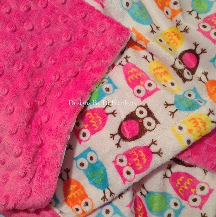 Toddler Hot Pink Minky Owl Blanket Minky Dot Back  Toddler Size    40 x 50