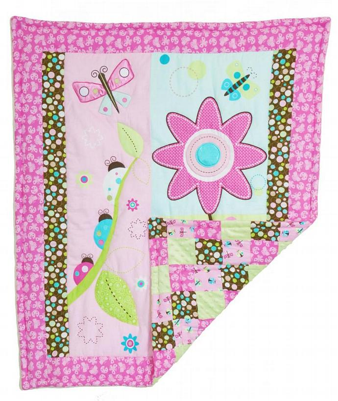 Flannel Baby Quilt Pink Daisy Lady Bug Patchwork Minky Pattern Back Girls