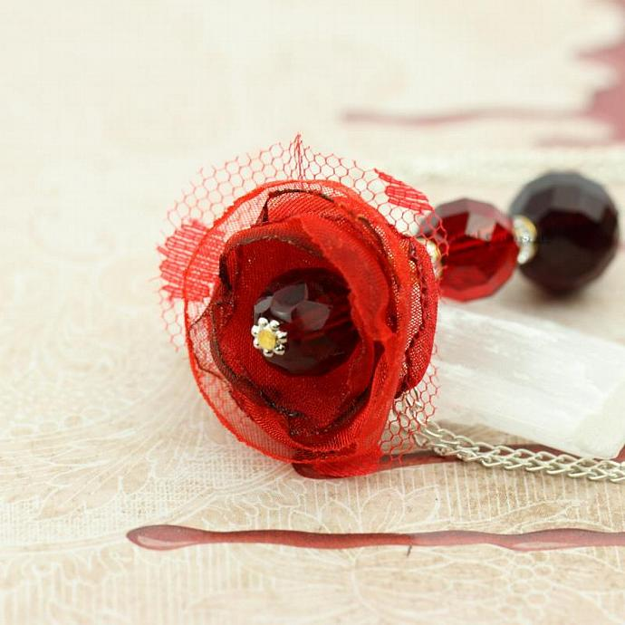 Flirty Bridesmaid Gift Flower Necklace in Blood Red Garnet and Silver by