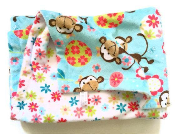 Blue Minky  Blanket  Brown Monkey  White Daisy Plush Baby Blanket  GIrl Nursery