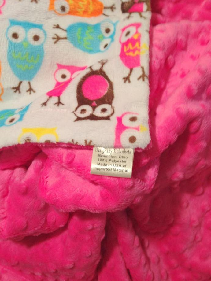 Minky Baby Blanket Owl with Hot Pink Minky Dot Back Car Seat    29 x 36