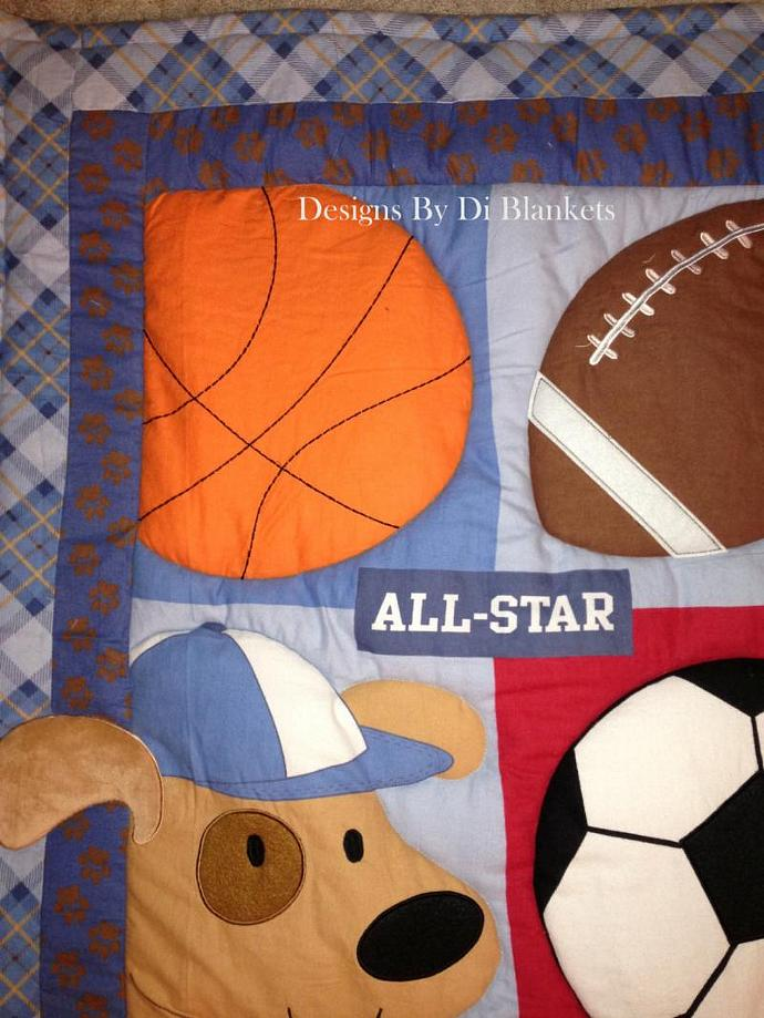 Puppy Baby Quilt Comforter   Sports Flannel Minky Patchwork Back. Boy Nursery