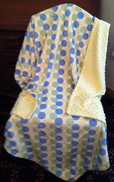Yellow Minky Blanket Retro Circles Blue Sage Green Soft Chenille Dot Back
