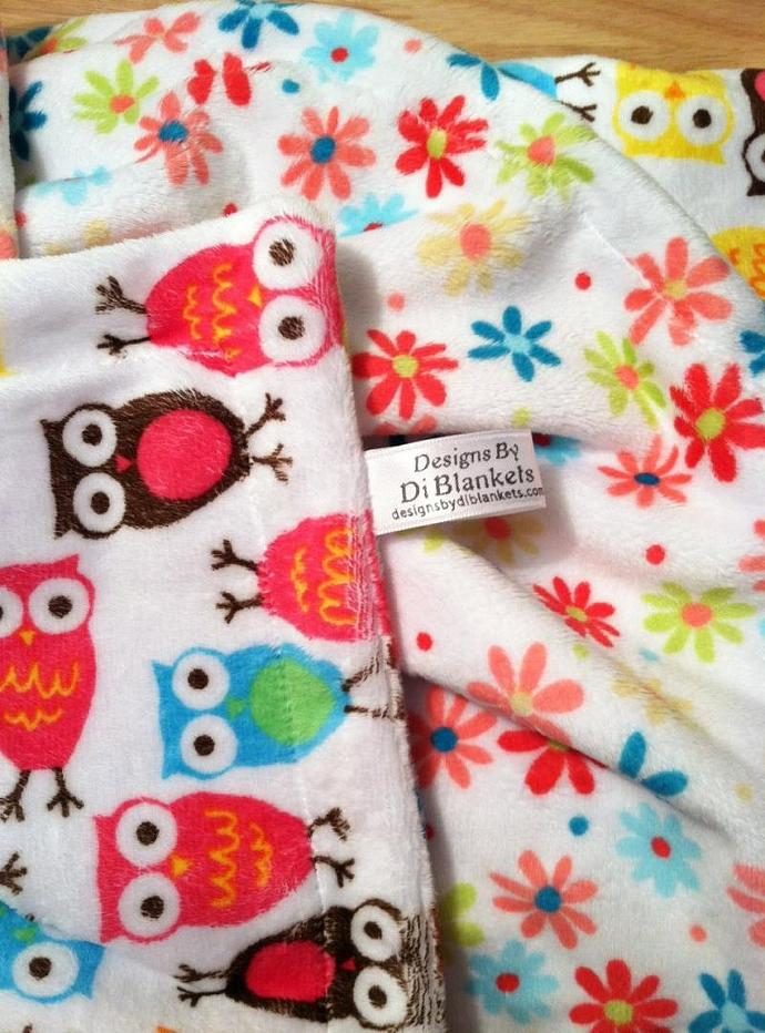 Owl Minky Baby Blanket White Flower , Pink Orange Blue Brown Owls Girl Bedding