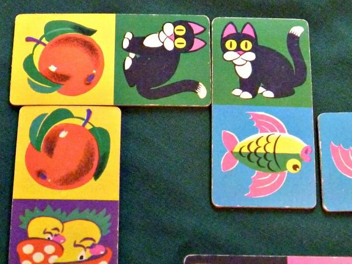 Destash for Crafts Projects Collage Vintage 1960s Childrens Domino Cards