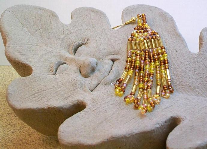Gold & Brown Native American Style Earrings
