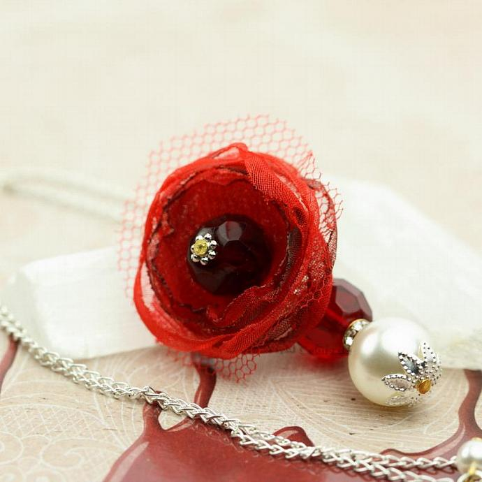 Flirty Bridesmaid Gift Flower Necklace Blood Red Garnet White Pearl and Silver