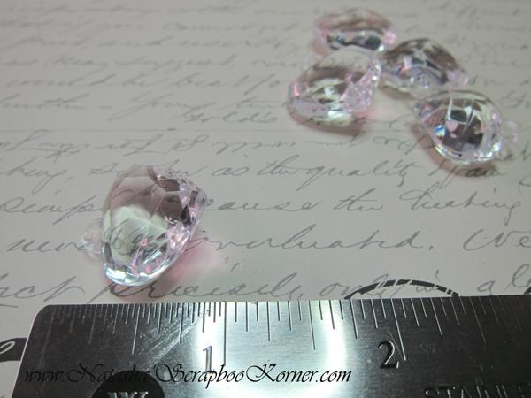 5pcs Acrylic Heart Charms - Crystal Clear