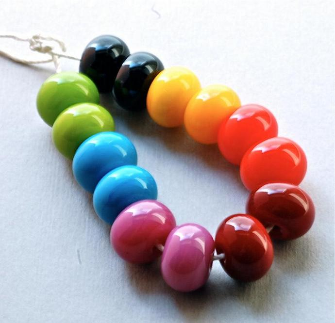 handmade lampwork glass beads rainbow color  lampwork by Paulbead set of 14