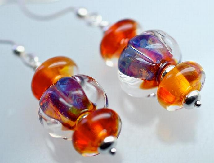 Sale glass drop earrings Christmas Gifts lampwork and sterling silver amber