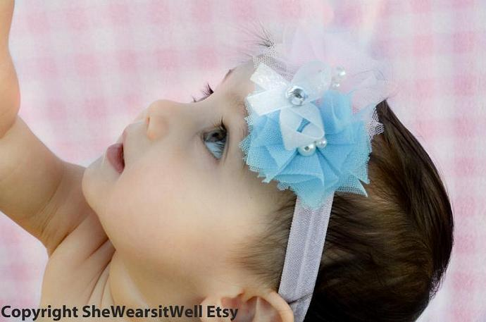 Baby Girl Flower Headband- Blue and Pink Flowers, White Hair Bow with