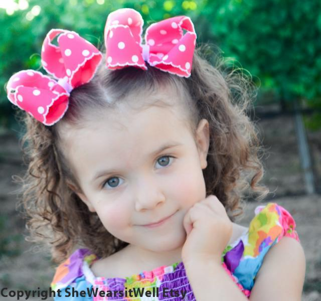 29f87e36833e3 Think Pink Large Hair Bows for Girls- Pretty Pink and White Polka Dots