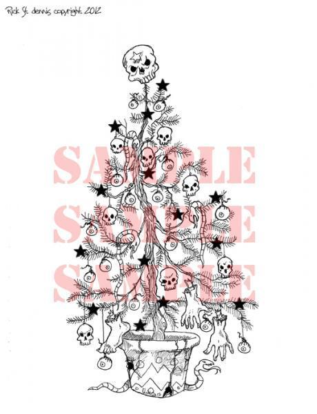 Creepmas Tree black starz digi stamp
