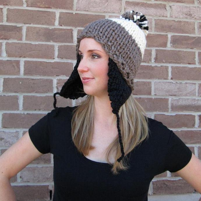 Monochromatic Panda Hand Knit Ear Flap Pom Pom Hat - Acrylic Wool Blend