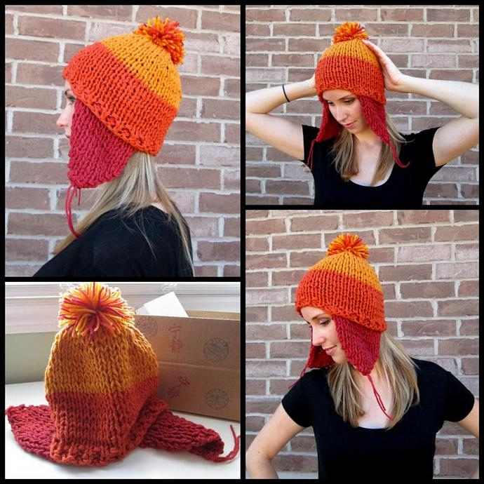 Cunning Hand Knit Ear Flap and Pom Pom Hat - 100% Acrylic Hat in Brick, Pumpkin