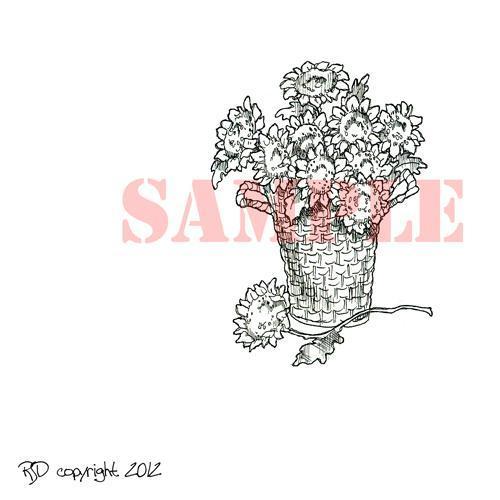 Basket of Sunflowers digi stamp