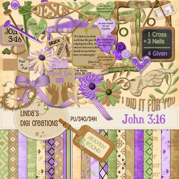 John 3:16 (Digital Scrapbooking Kit)