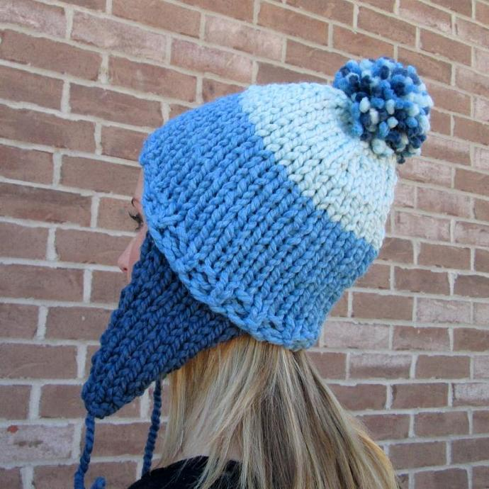 Blue Mercenary Hand Knit Ear Flap Pom Pom Hat - Acrylic Wool Blend