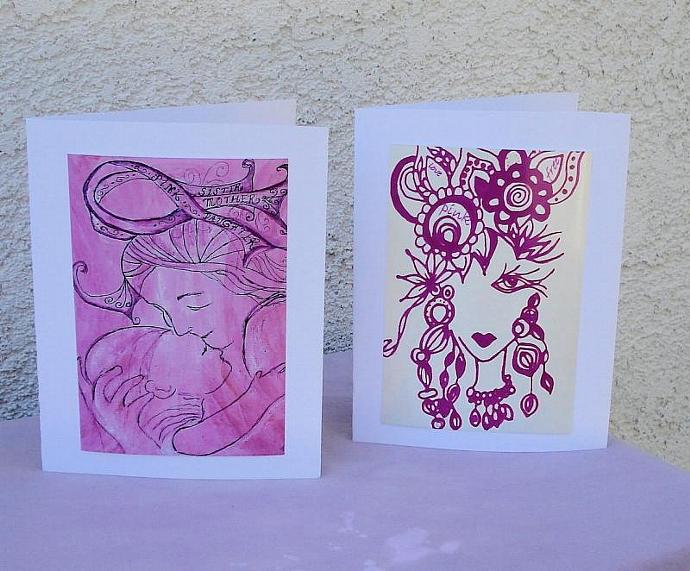 Hand Painted Pink Breast Cancer Awareness Note cards