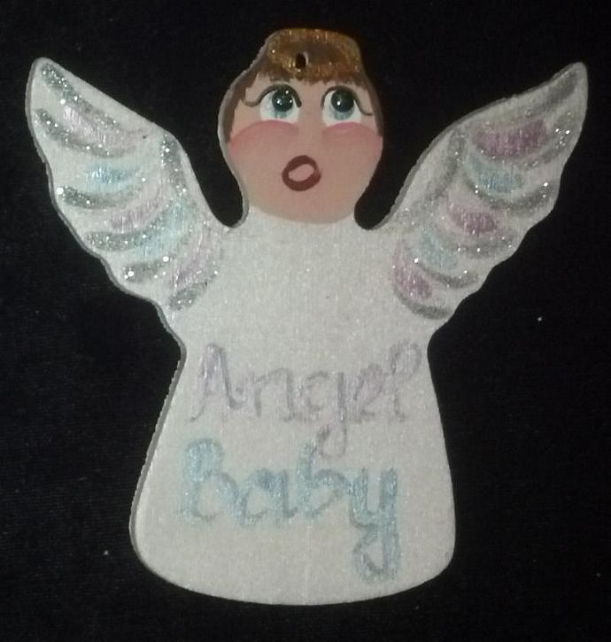 Handpainted Wooden Angel Baby Ornament